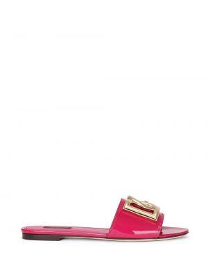 Кожаные шлепанцы - розовые Dolce & Gabbana