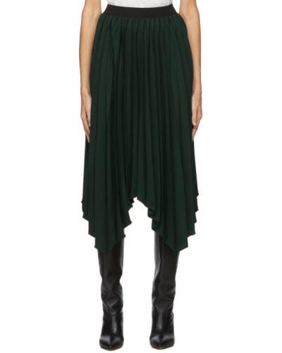 Jedwab czarny asymetryczny spódnica plisowana na hakach Isabel Marant