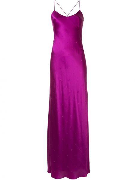 Шелковое розовое платье на бретелях без рукавов Michelle Mason