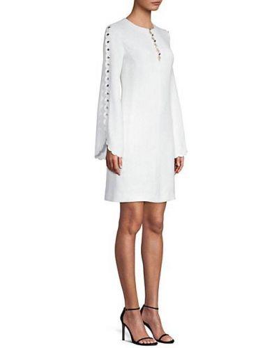 Biała sukienka długa z długimi rękawami z wiskozy Michael Kors