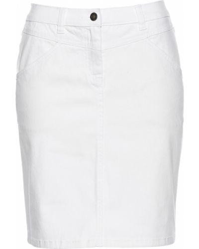 Джинсовая юбка белая с кокеткой Bonprix