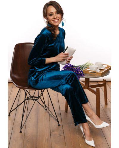 Синий бархатный домашний костюм Lady Taiga