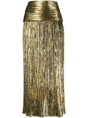 Желтая шелковая плиссированная юбка миди Saint Laurent