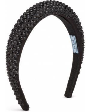 Ободок атласный - черный Prada