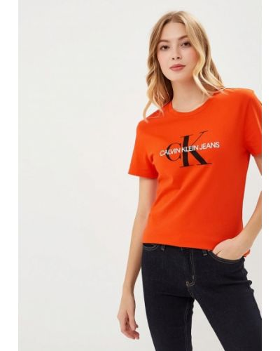 Оранжевая футболка Calvin Klein Jeans
