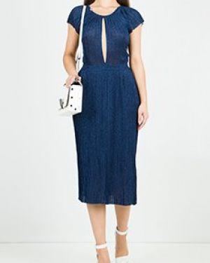 Синее асимметричное коктейльное платье Elisabetta Franchi
