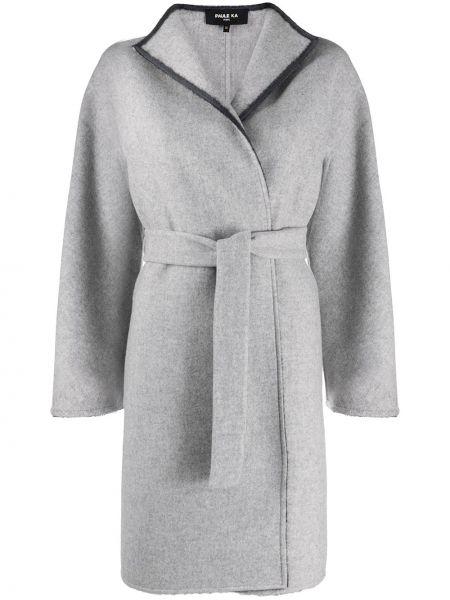 С рукавами серое шерстяное длинное пальто с запахом Paule Ka
