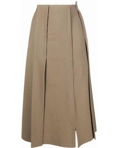 Шерстяная юбка миди - зеленая Tela