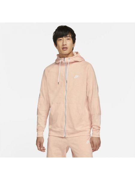 Różowa bluza z kapturem bawełniana Nike