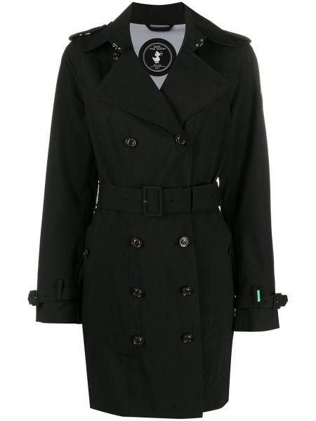 Черное длинное пальто с поясом Save The Duck