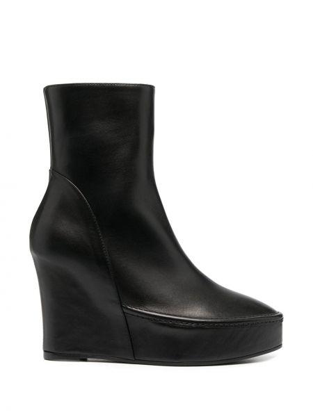 Czarne ankle boots na platformie skorzane Ann Demeulemeester