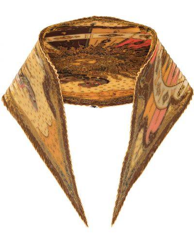 Желтый плиссированный шелковый платок Hermes