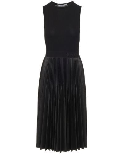 Prążkowana czarna sukienka midi z wiskozy Givenchy
