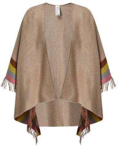 Beżowy bawełna bawełna ponczo z frędzlami Fraas