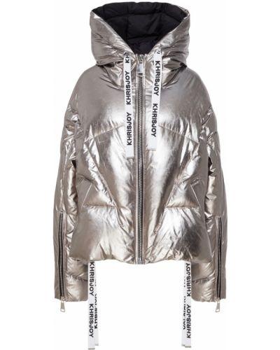 Куртка с капюшоном стеганая серебряная Khrisjoy