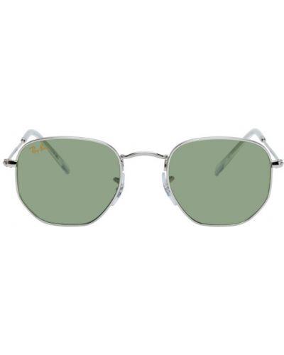 Кожаные зеленые солнцезащитные очки прозрачные Ray-ban