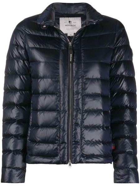 Пуховая синяя стеганая длинная куртка Woolrich