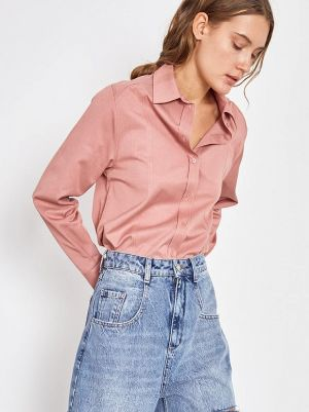 Блузка с длинным рукавом розовая весенний Lime