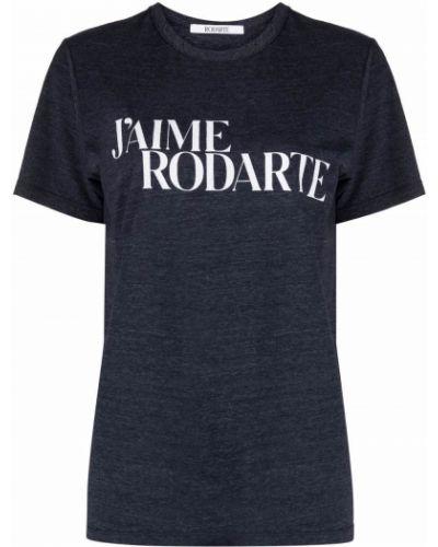 Niebieski t-shirt krótki rękaw bawełniany Rodarte