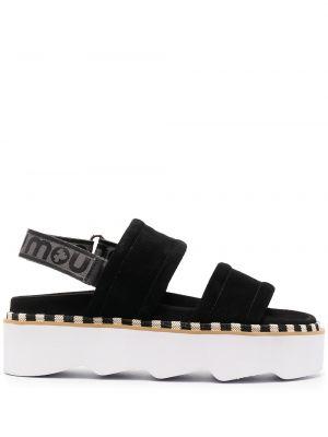 Czarne sandały na platformie skorzane Mou