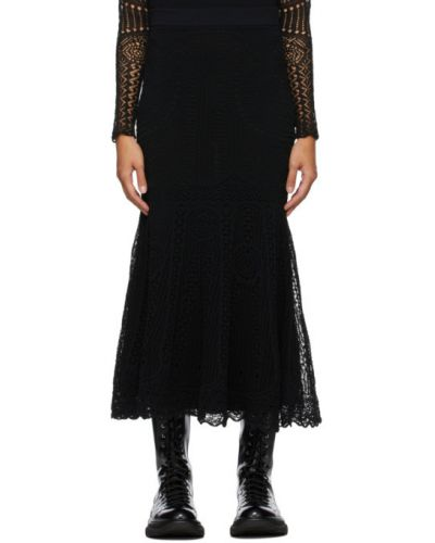 Кружевная черная юбка макси пэчворк Alexander Mcqueen