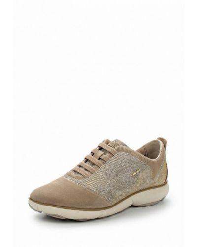 Бежевые велюровые кроссовки Geox