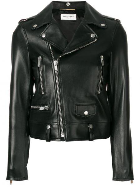 Кожаная куртка на молнии - черная Saint Laurent