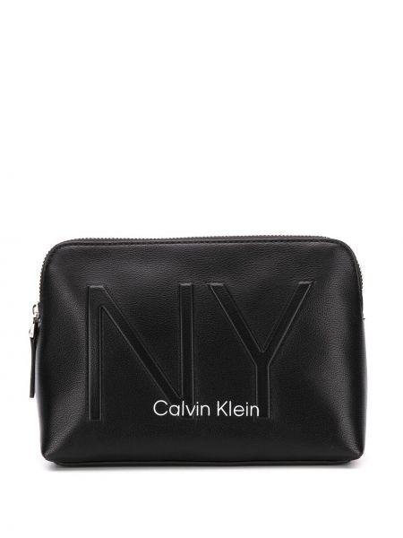 Torba kosmetyczna skórzany z logo Calvin Klein