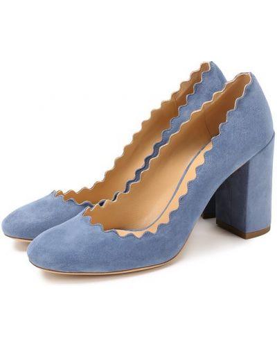 Кожаные туфли на каблуке замшевые Chloé