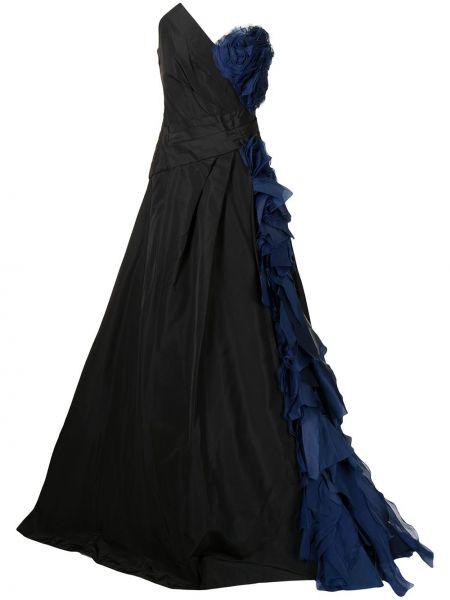 Вечернее платье из органзы - синее Monique Lhuillier