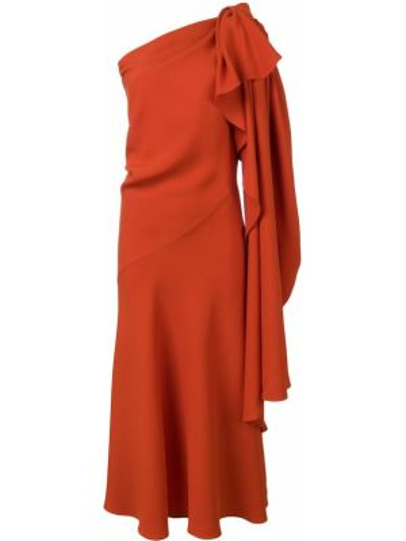 Оранжевое платье на одно плечо из вискозы Esteban Cortazar