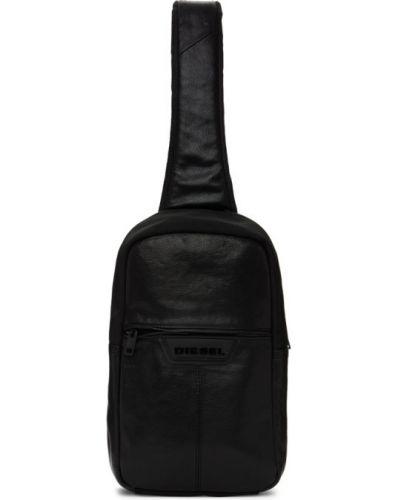 Черный кожаный рюкзак с карманами Diesel