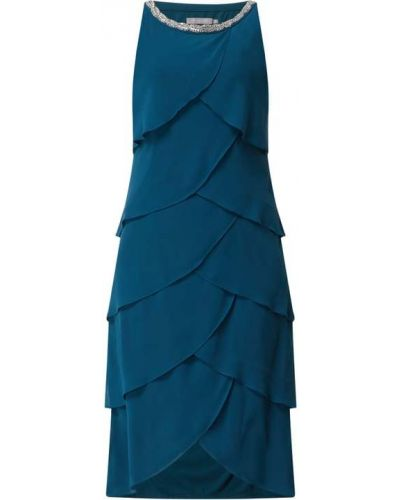Sukienka rozkloszowana z szyfonu turkusowa Christian Berg Cocktail