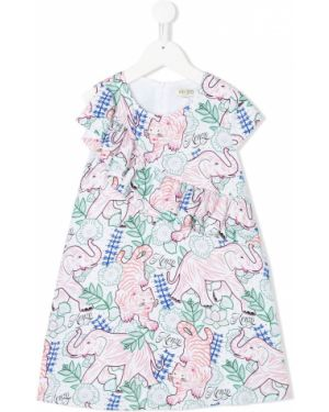 Sukienka mini rozkloszowana krótki rękaw z wiskozy Kenzo Kids