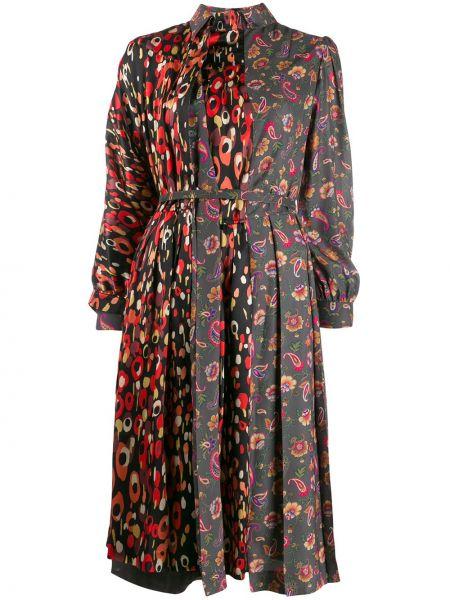 С рукавами черное шелковое платье на пуговицах Junya Watanabe