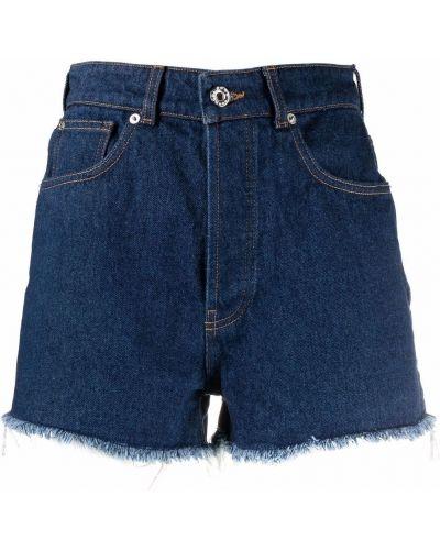 Синие хлопковые шорты с нашивками Paco Rabanne