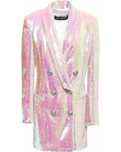 Платье мини атласное - розовое Balmain