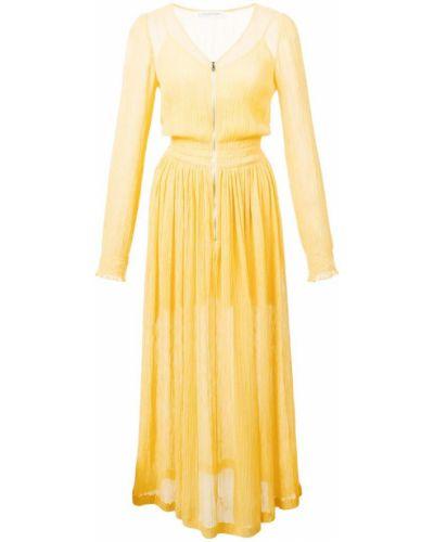 Расклешенное желтое платье миди на молнии Jill Stuart