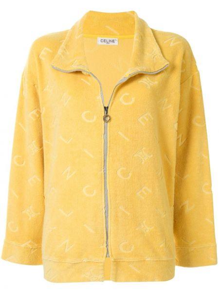 Прямая желтая куртка на молнии с воротником Céline Pre-owned