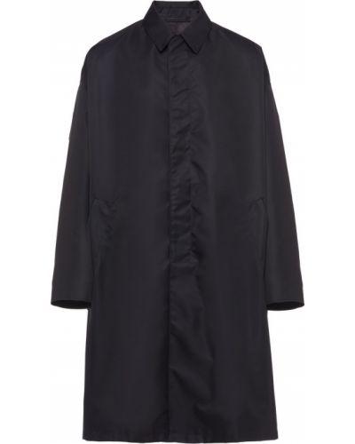 Czarny płaszcz przeciwdeszczowy od płaszcza przeciwdeszczowego z kieszeniami z kołnierzem Prada