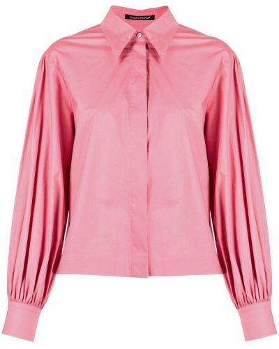 Розовая с рукавами рубашка с воротником Luisa Cerano