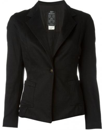 Черный классический пиджак с карманами на пуговицах John Galliano Pre-owned