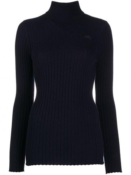 Кашемировый синий свитер с длинными рукавами с заплатками Courrèges
