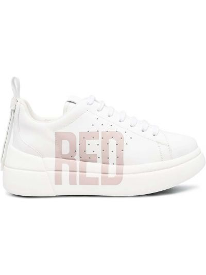 Кожаные белые кроссовки на шнурках Red Valentino