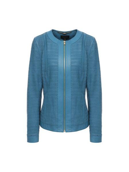 Синяя кожаная куртка с подкладкой из вискозы Escada