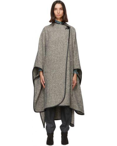 Asymetryczny czarny wełniany skórzany płaszcz z kieszeniami Isabel Marant