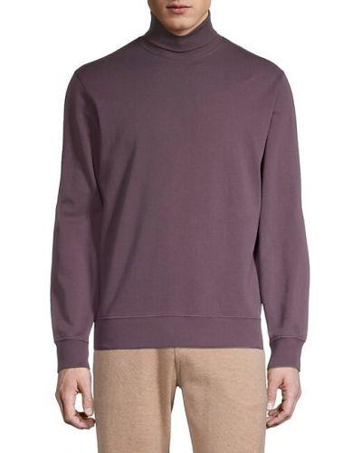 Prążkowany fioletowy długi sweter bawełniany Brunello Cucinelli
