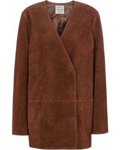 Коричневый кожаный пиджак Toteme