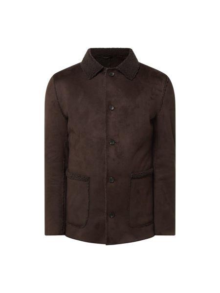 Brązowy płaszcz z kołnierzem z kieszeniami od płaszcza przeciwdeszczowego Cinque