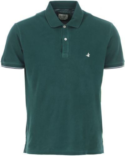 T-shirt krótki rękaw bawełniany zapinane na guziki Brooksfield